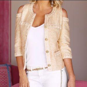 EUC Boston Proper cold shoulder tweed blazer